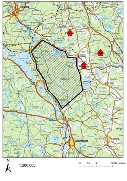 Karta över skogsbranden.